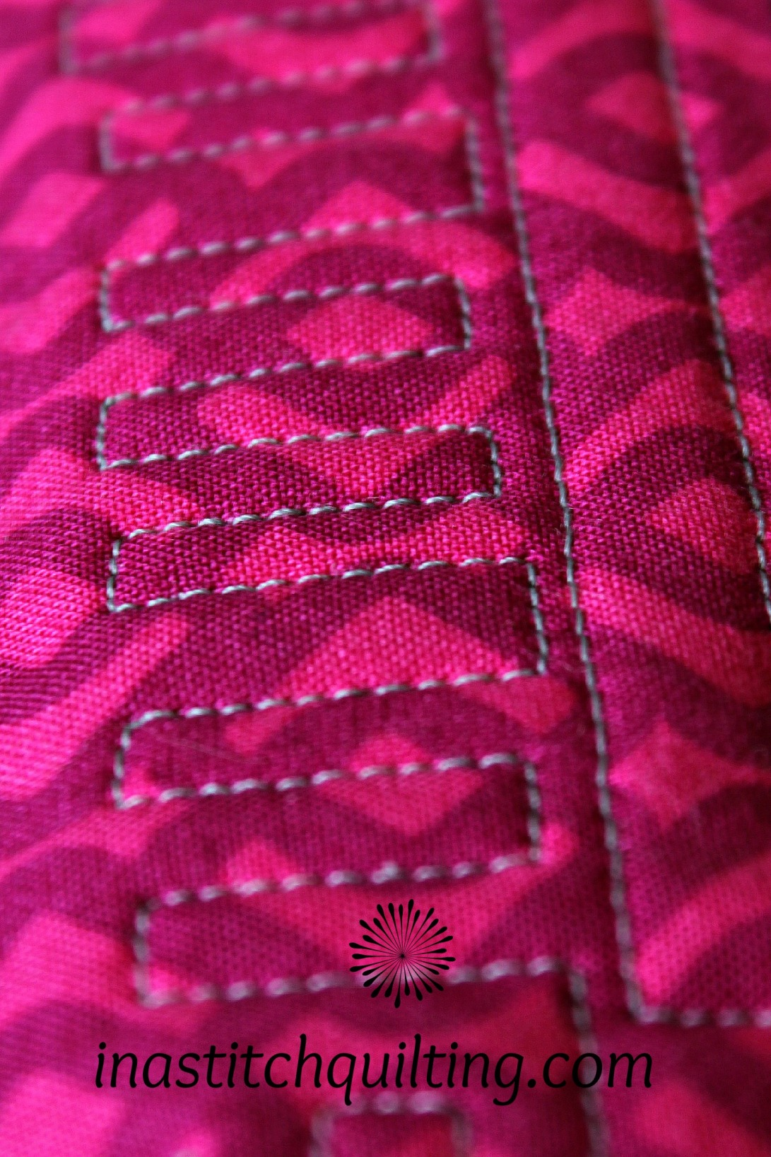 Geometric Stitches on Miss A's Quilt