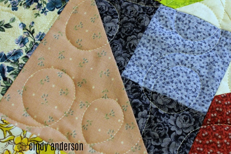 A Closeup of Cindy T's Scrappy Star Quilt