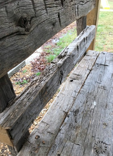 A Bench Fashioned from Leftover Log Cabin Logs